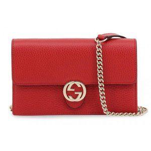 Gucci Red Interlocking G Leather Clutch Crossbody